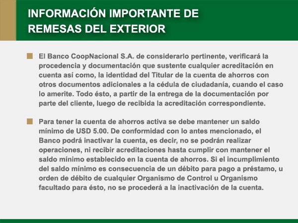 Banco coopnacional remesas del exterior for Numero del banco exterior